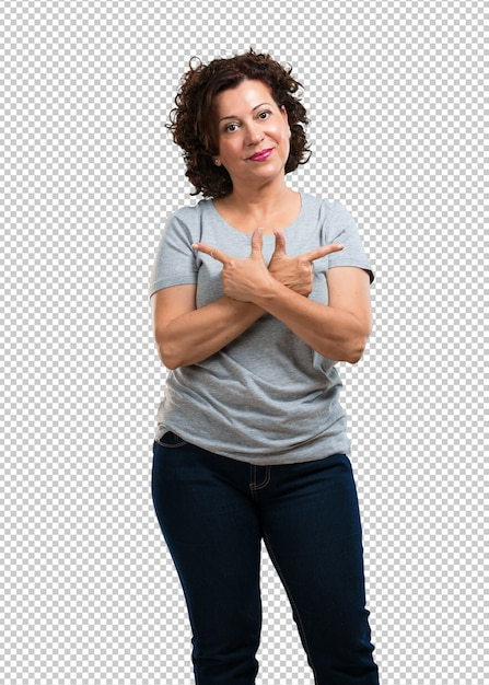 Middle aged woman confused and doubtful man, decide between two options, concept of indecision Premium Psd