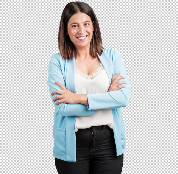 Middle aged woman crossing his arms, smiling and happy, being confident and friendly Premium Psd