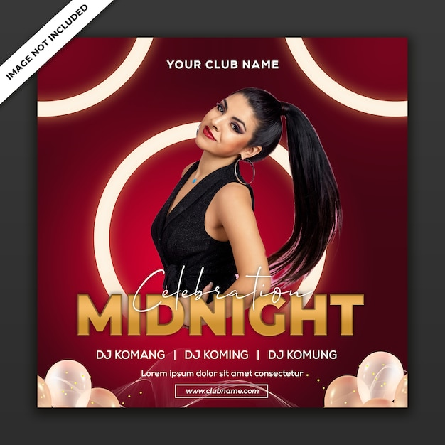 Midnight celebration party, poster event template, square size Premium Psd