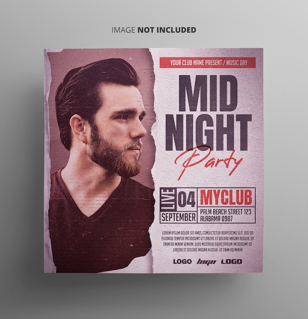 Midnight party flyer event Premium Psd