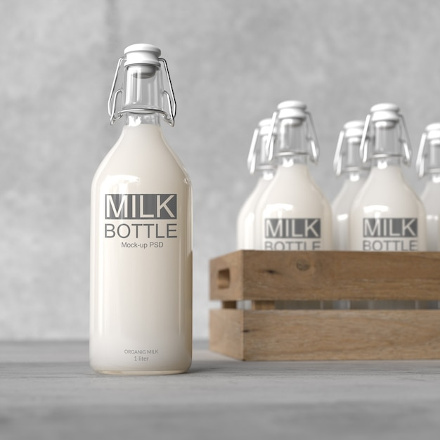 Milk bottle mock up Premium Psd