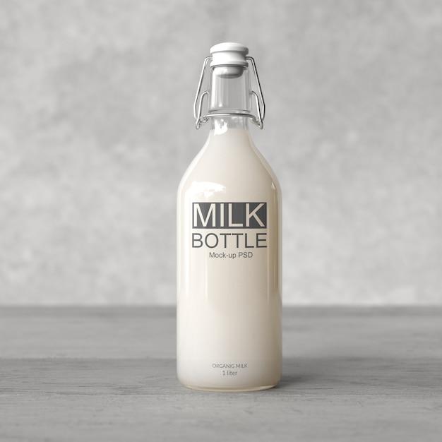 우유 병 모형 프리미엄 PSD 파일