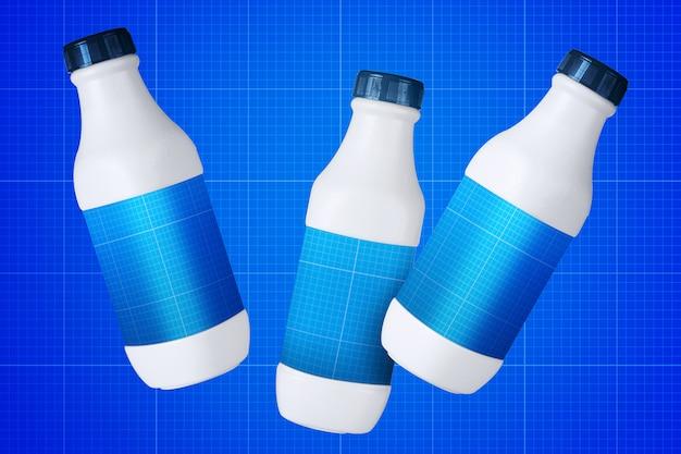 Milk bottles mockup Premium Psd