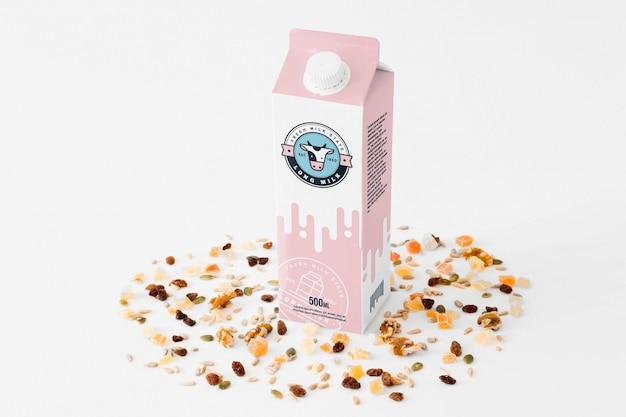 Milk packaging mockup Free Psd