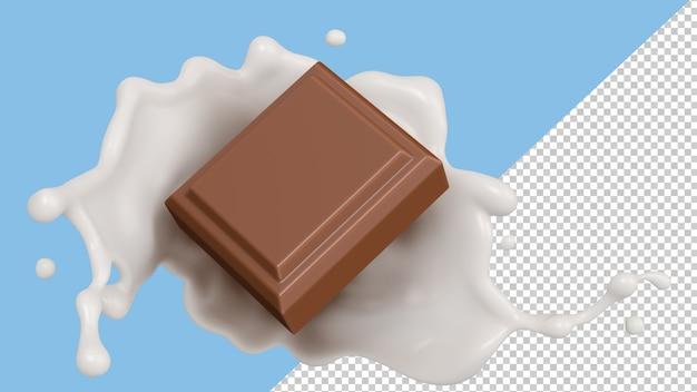 Молочный всплеск шоколада 3d визуализация Premium Psd