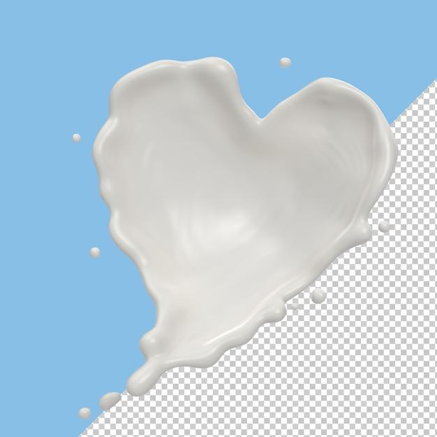 Всплеск молока или всплеск йогурта в форме сердца изолированы Premium Psd