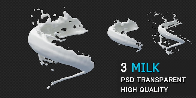 Milk splash with droplets in 3d rendering isolated Premium Psd