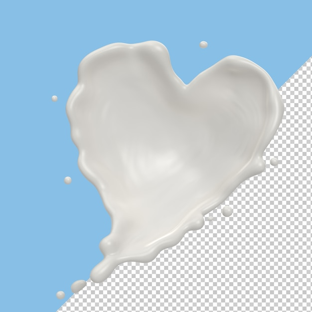 Milk splash or yogurt splash in shape of heart isolated Premium Psd