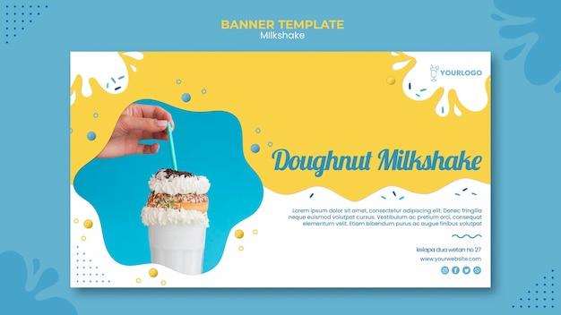 Milkshake banner template design Free Psd