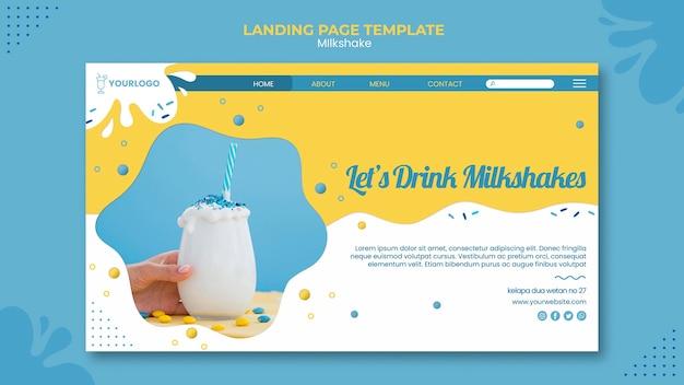 Milkshake landing page web template Free Psd