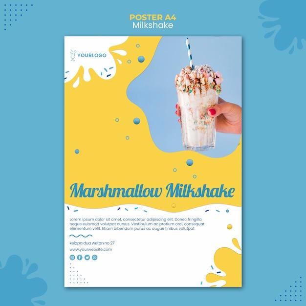 Milkshake poster template theme Free Psd