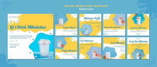 Milkshake social media post Free Psd