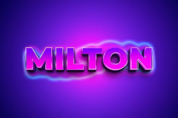 Milton 3d эффект стиля текста Premium Psd