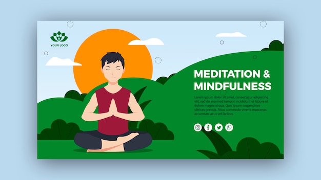 Mindfulness And Meditation Banner Template Free Psd File