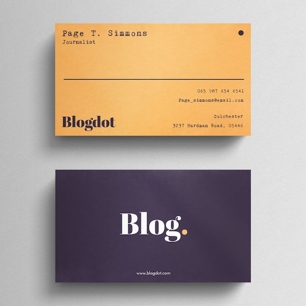 Minimal blogger business card Free Psd