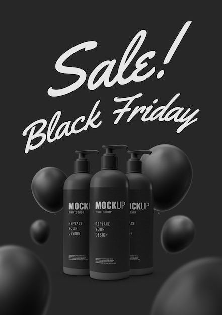 Минимальная бутылочная помпа черная пятница макет Premium Psd