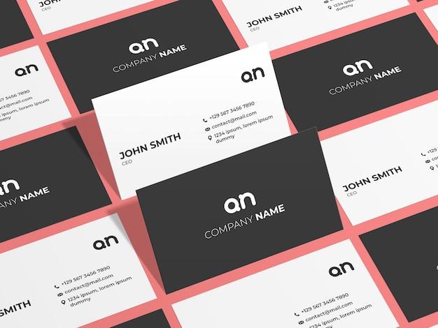 Минимальный макет визитной карточки из вида сверху Premium Psd