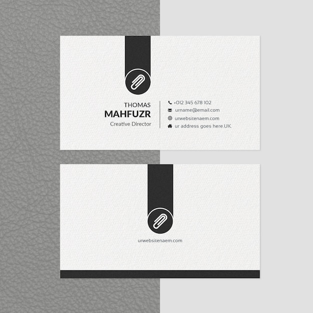 Minimal business card template white & black Premium Psd
