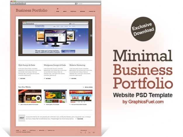 Minimal business portfolio website psd template psd file for What is a psd template