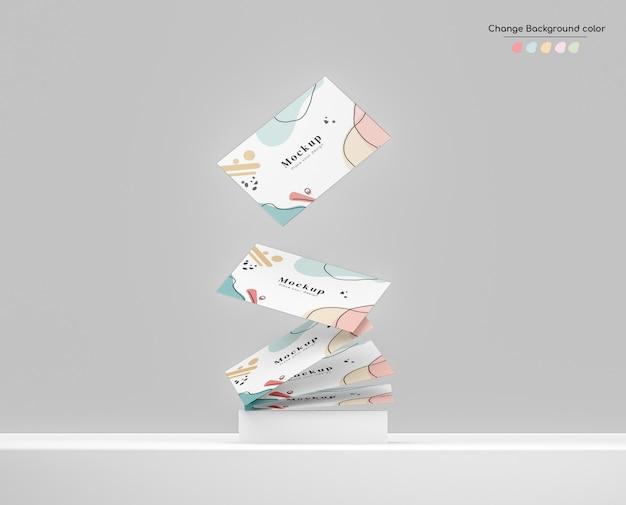 Минимальный макет визитной карточки для бизнеса, падающий на комок над платформой. Бесплатные Psd
