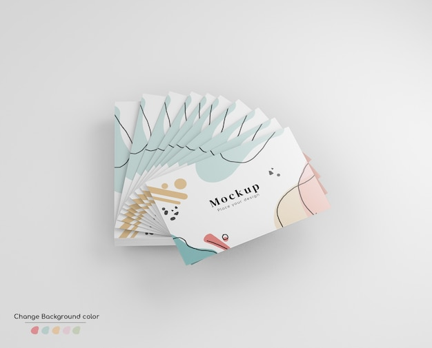 Minimal business visiting card mockup in hand fan disposition. Free Psd