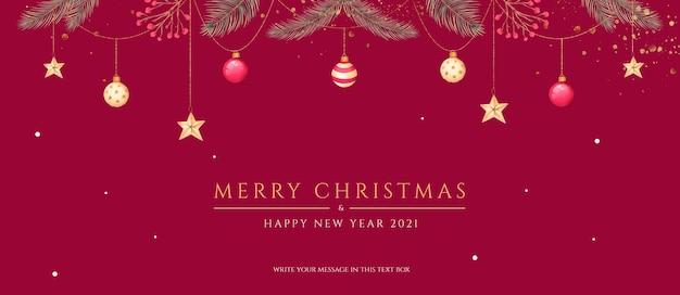 Минимальный рождественский баннер с красивыми украшениями и природой Бесплатные Psd
