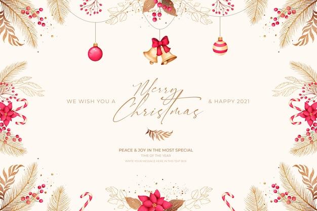Cartolina di natale minima con ornamenti rossi e dorati Psd Gratuite