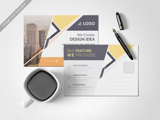 Minimal clean post card design template Premium Psd
