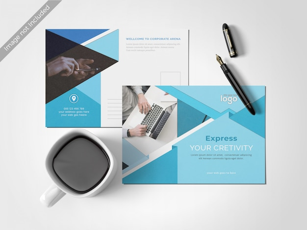 最小限のきれいなポストカードのデザインテンプレート Premium Psd