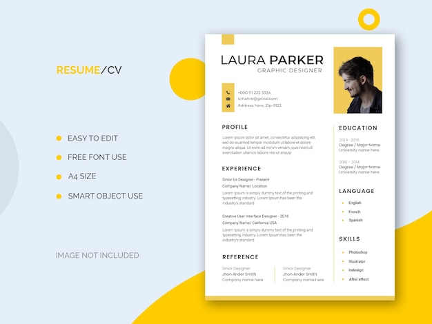 Minimal and clean resume or cv template Free Psd