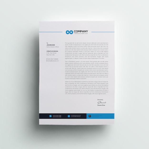 최소 회사 전문 편지지 프리미엄 PSD 파일