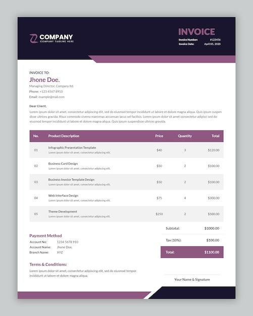 最小限の企業ビジネス請求書テンプレート Premium Psd