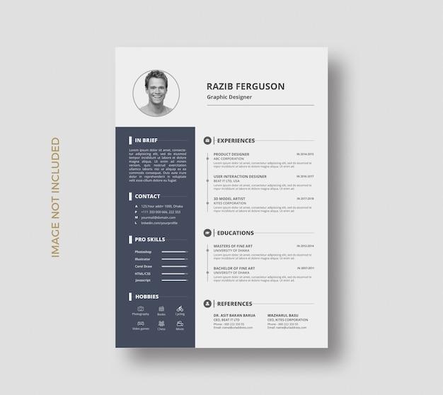 Minimal creative resume cv curriculum vitae template design Premium Psd