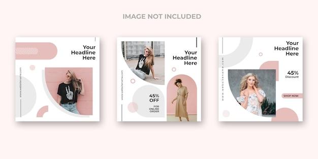 Минимальный модный набор баннеров instagram Бесплатные Psd
