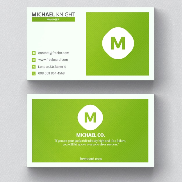 Minimal Green Business Card PSD File Free Download