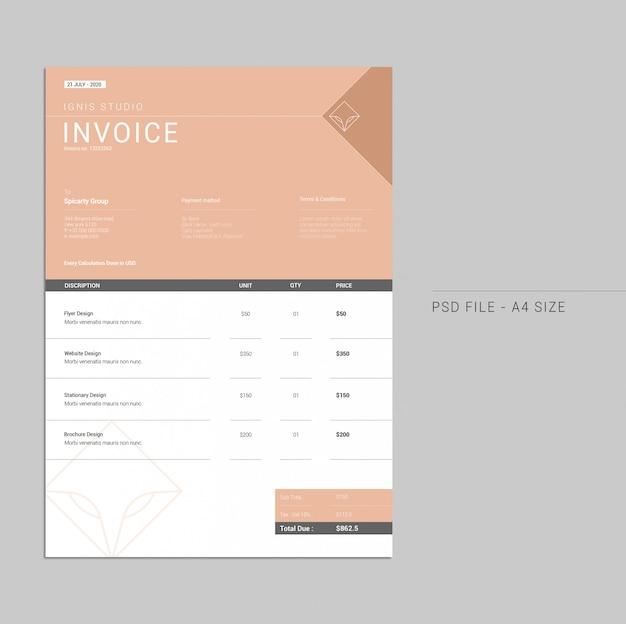 Minimal invoice template Premium Psd
