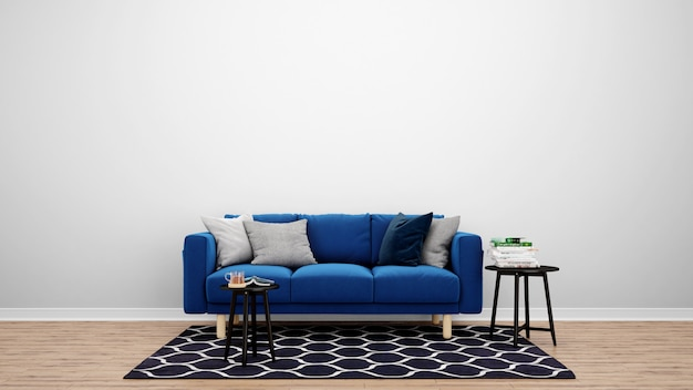 Минимальная гостиная с синим диваном и ковром, идеи дизайна интерьера Бесплатные Psd