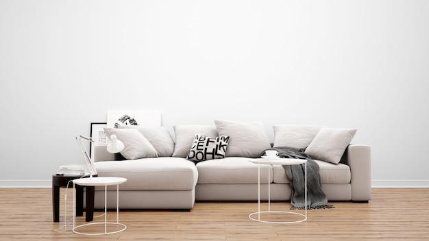 Minimal living room with classic sofa and carpet, interior design ideas Free Psd