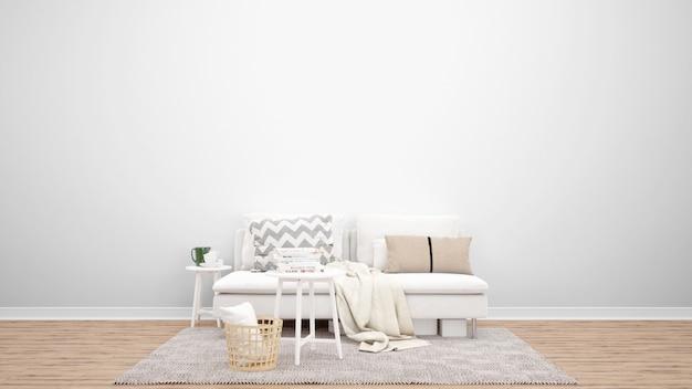 Free Psd Minimal Living Room With White Sofa And Carpet Interior Design Ideas