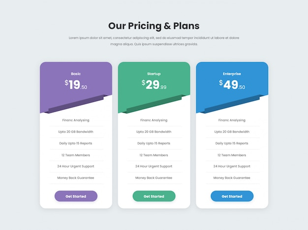 Minimal and modern pricing table Premium Psd