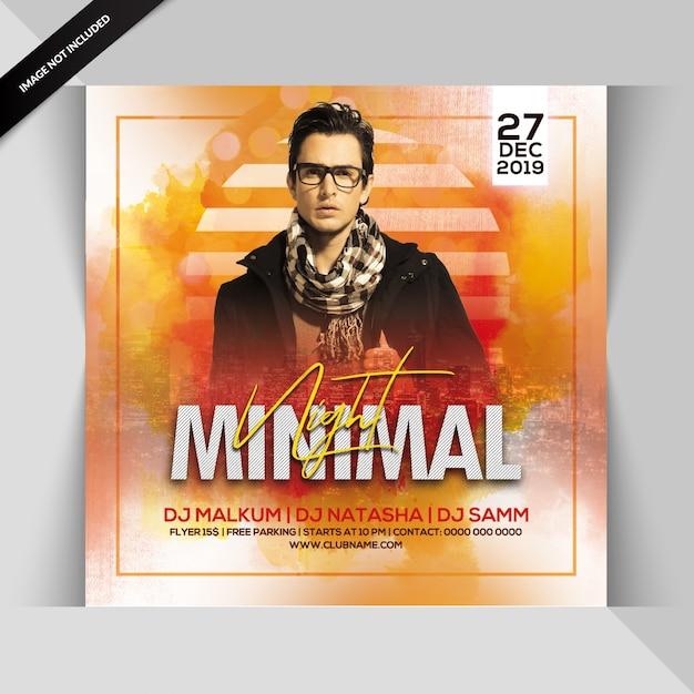 Minimal night party flyer Premium Psd
