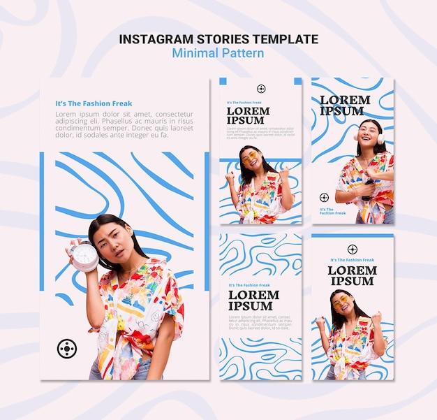 最小限のパターンのinstagramストーリー Premium Psd
