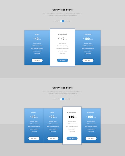 Minimal pricing table for web Premium Psd