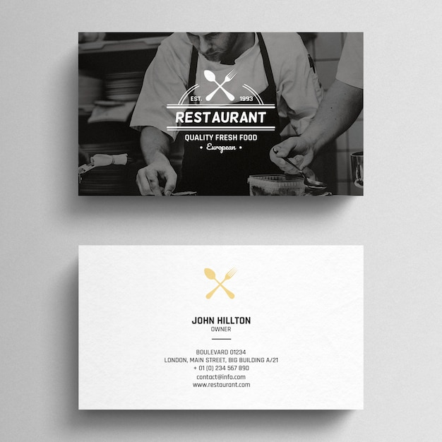 Minimal restaurant business card Free Psd
