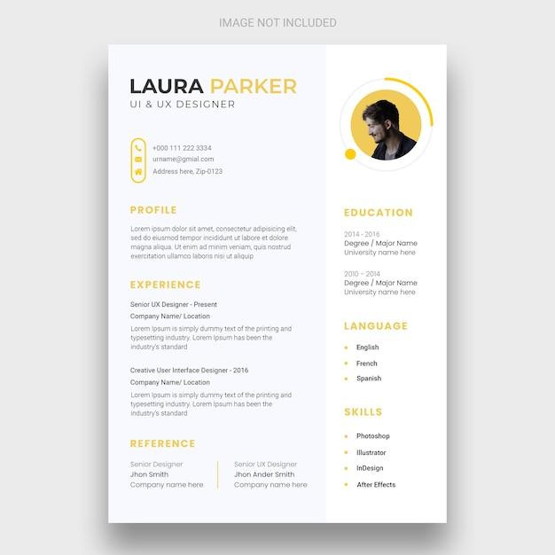 Minimal resume or cv design template Free Psd