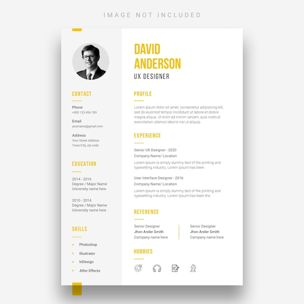 Minimal resume or cv design template Free Psd