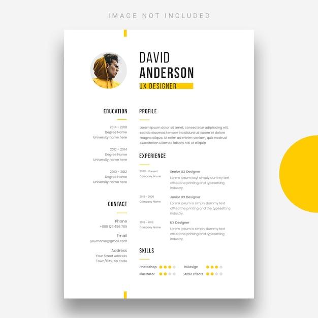 最小限の履歴書または履歴書のデザインテンプレート 無料 Psd