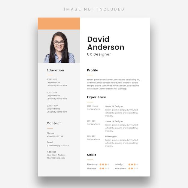 Minimal resume template Free Psd