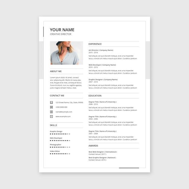 Minimal resume template Premium Psd