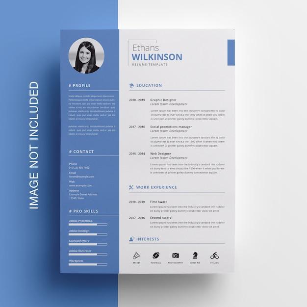 Desain CV Simple warna biru